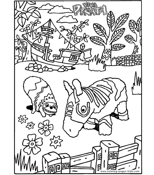 viva pi ata color page coloring pages for kids cartoon characters coloring pages printable coloring pages color pages kids coloring pages