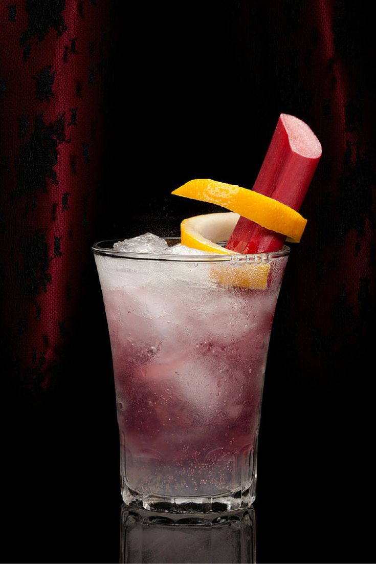Rhubarb Gin Fizz  Ingredients:  1 1/2 oz. Brockmans Gin 1/2 oz. Lemon Juice 3 oz. Club Soda Method:  Shake and Strain over fresh ice. Top with club soda and garnish with a stick of rhubarb.