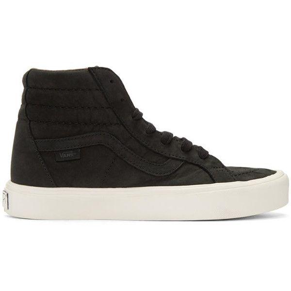 Vans Black Nubuck Sk8-Hi Reissue Lite LX Sneakers ($150) ❤ liked on Polyvore featuring shoes, sneakers, black, high top shoes, high top sneakers, black high top sneakers, lace up shoes and black high top shoes