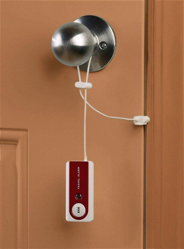 This travel door alarm ($12)   33 Genius Travel Accessories You Didn't Know You Needed