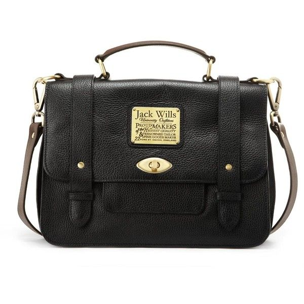 Jack Wills Penbury Satchel ($249) ❤ liked on Polyvore featuring bags, handbags, black, satchel handbags, man tote bag, leather totes, satchel purses and tote handbags