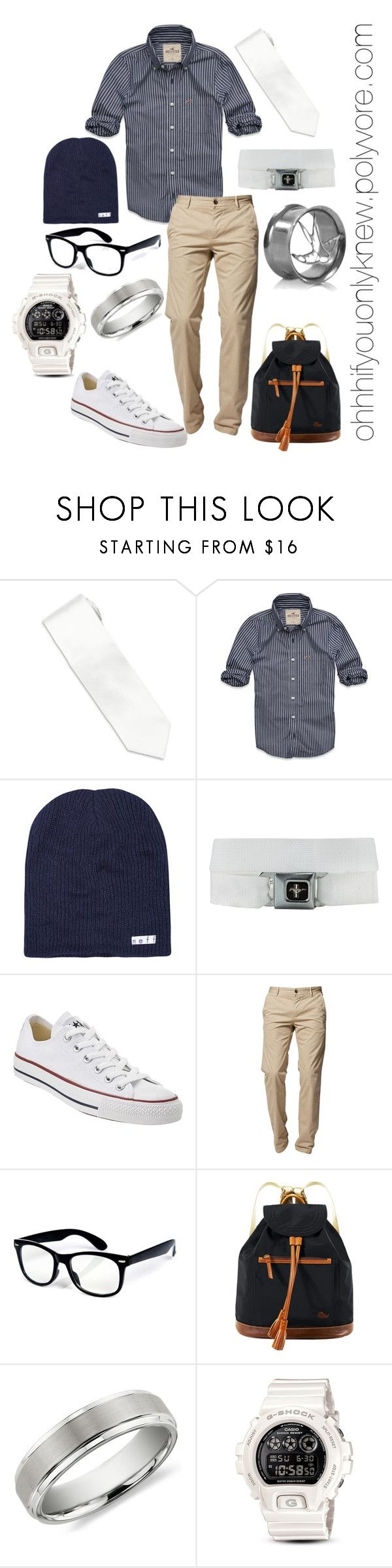 """Untitled #22"" by ohhhifyouonlyknew ❤ liked on Polyvore featuring Stefano Ricci, Hollister Co., Neff, Converse, BOSS Orange, Dooney & Bourke, Blue Nile, G-Shock, casual and my style"