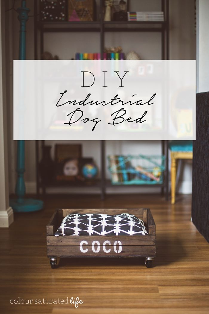 Every dog needs somewhere comfy to take nap, this DIY tutorial will show you how to make a faux industrial dog bed inspired by a vintage wood crate.