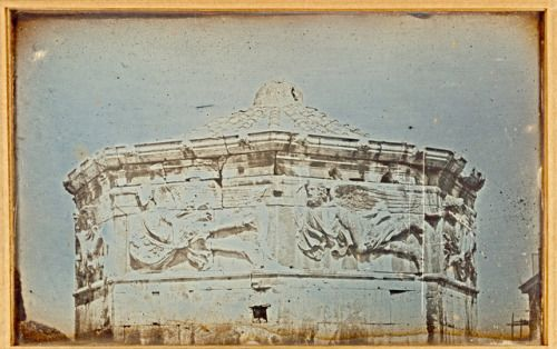 Frieze on the Tower of the Winds, Athens. Daguerreotype (1842) by Joseph-Philibert Girault de Prangey (French, 1804 - 1892). Image and text courtesy The Getty. • This image is available for download, without charge, under the Getty's Open Content...