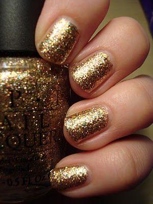 Gold glitter nails: Nails Art, Wedding Nails, Nails Colors, Gold Glitter Nails, Sparkle Nails, Nails Polish, Golden Nails, New Years, Sparkly Nails