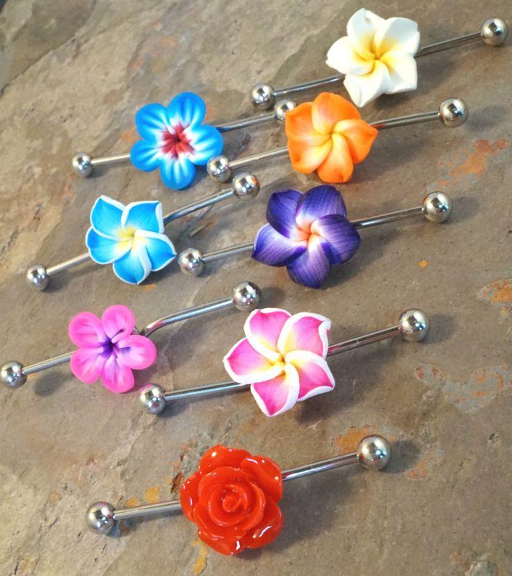 Bright Fuchsia Pink Hawaiian Flower Industrial Bar Barbell Piercing Upper Ear Ring