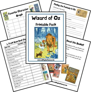 Wizard of Oz Printable Pack includes: copywork pages, create-a-character, graph, record keeping list for books read, word find, Frank L. Baum notebook page, and more!