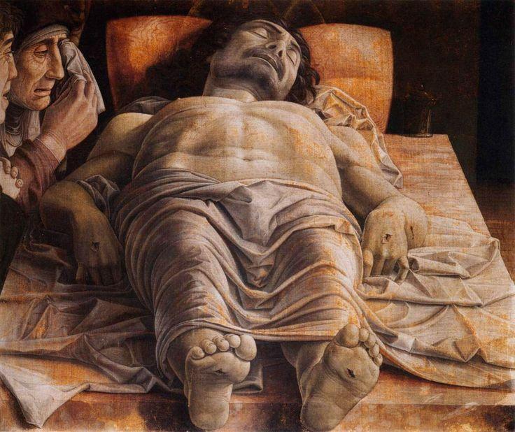 """Andrea Mantegna, """"Cristo morto"""", 1470-80, Milano, Pinacoteca di Brera."""