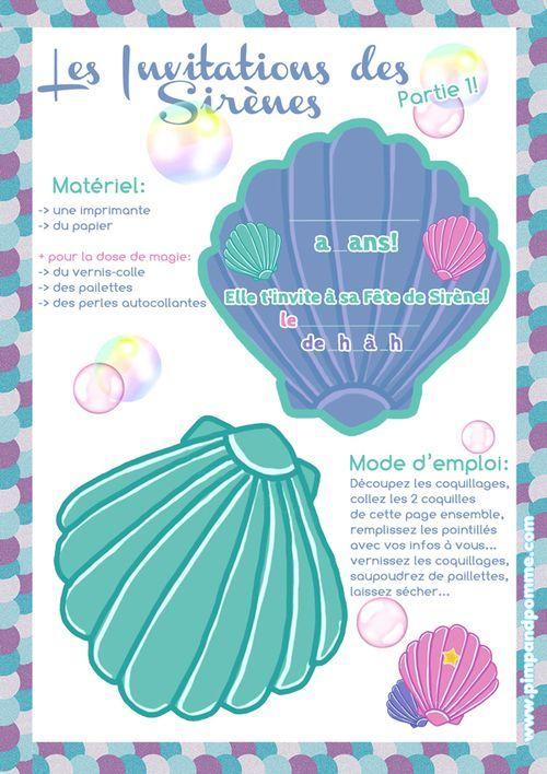 ★Les Invitations pour l'Ecole★ #DIY {le Printable de Sirène}