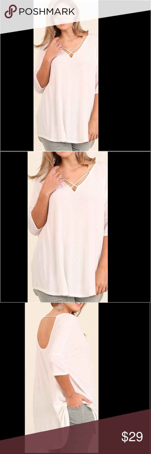 NWT PLUS SIZE strappy top shirt blouse Crisscross Front Tunic with Open Back Details, COTTON BLEND, Sizes: XL, XXL, XXL ✅ Limited quantities available. Get yours while they last. 💋 ships same day of purchase. 💃🏻 Tops Blouses
