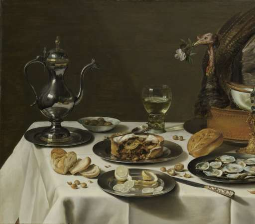 Still Life with a Turkey Pie, Pieter Claesz., 1627 - Search - Rijksmuseum
