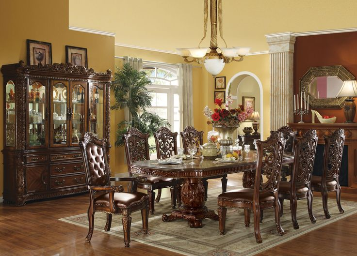 Acme Furniture Vendome Cherry 9 Piece Double Pedestal Dining Table Set With Carved Chairs