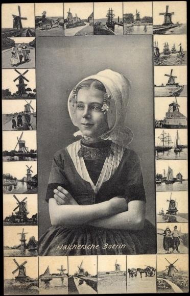 Vintage Dutch Postcard....Walchersche Boerin...I like all the windmills surrounding the young dutch girl.