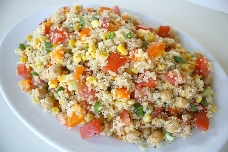 Quinoa Vegetable Salad with Lemon-Basil Dressing  Just make dressing, cook quinoa and mx with chopped veg etc....easy
