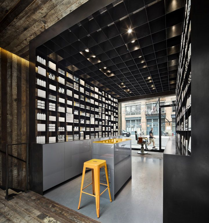 MenScience flagship store by HWKN, New York store design #top #yellowFlagship Stores, Architecture Interiors, Design Interiors, Hotels Interiors, Interiors Design, Menscienc Flagship, Retail Spaces, Retail Architecture, Work Design