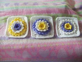 3D free pattern crochet flower square