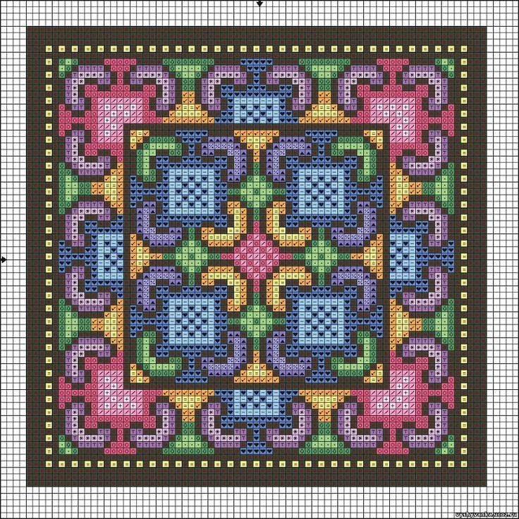 biscornu chart  -  Massive pattern but can do as one piece or portion out elements into a smaller project - #heartbeadwork #loombeading