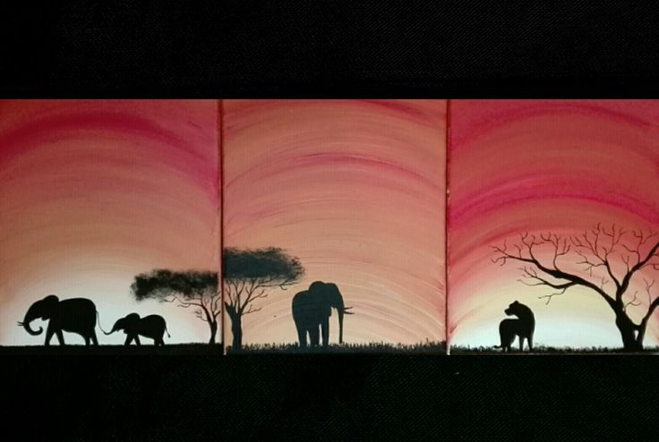 Africa, animals, family, painting