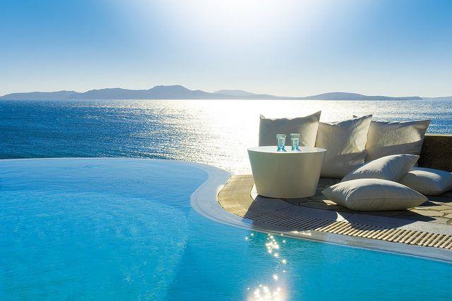 infinity pool to infinity: Infinitypools, Favorite Places, Greece, Grand Hotel, Travel, Space, Infinity Pools, Mykonos Grand