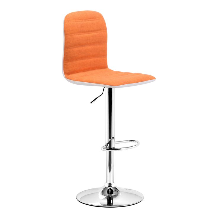 Add a modern accent to your kitchen counter or home bar decor with this colorful Logic Bar Stool. Upholstered in bright orange fabric, this stylish stool is height adjustable and features a chromed base with a footrest for added comfort.