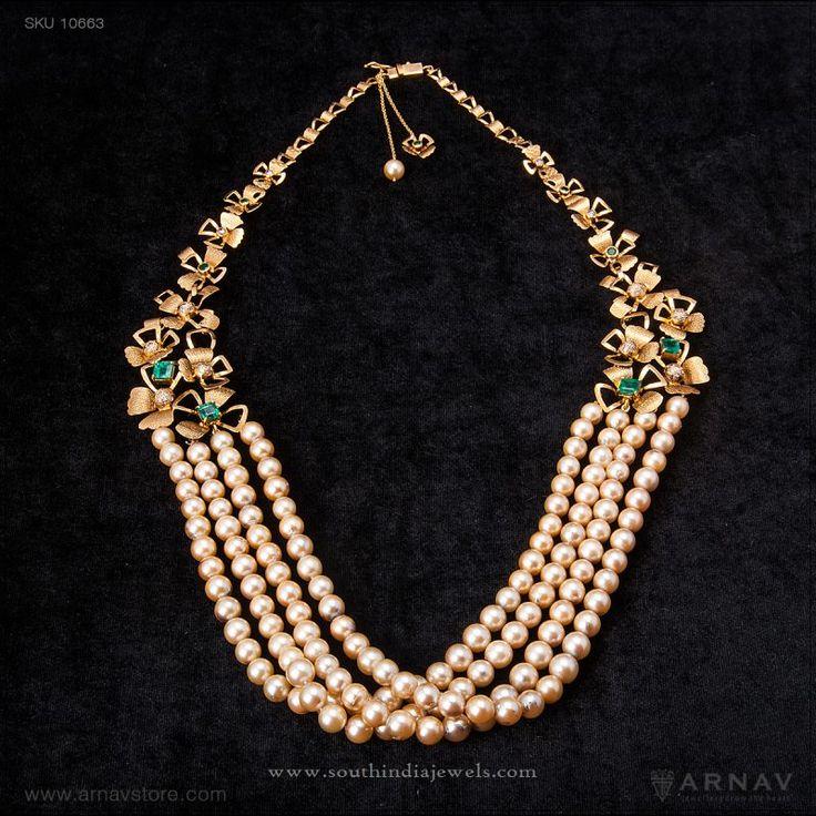 Indian Pearl Bridal Jewellery, Indian Pearl Jewellery Designs, Bridal Pearl Necklace Designs, Designer Bridal Pearl Jewellery.