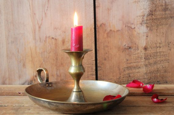 Portacandele in ottone vintage, titolare di grande candelabro, Candeliere, candela titolare centrotavola, Decorazioni matrimonio, centrotavola, Shabby chic