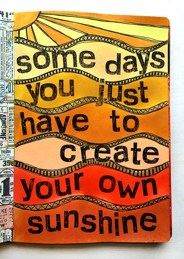 Art Journal Page by Rachel Greig using Dylusions Journal Block, Distress Inks and Darkroom Door Scratched Alphabet Rubber Stamps. More