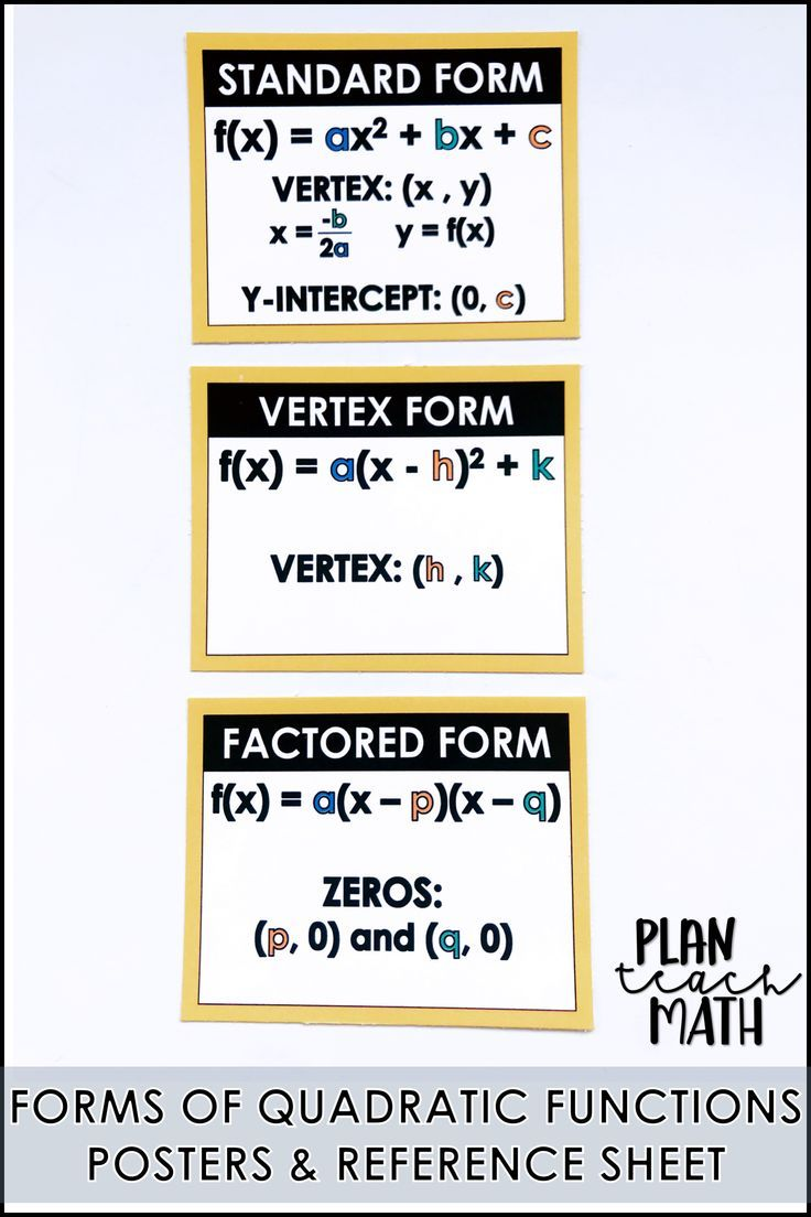 standard form vertex form intercept form  Quadratic Functions Forms Posters & Reference Sheet ...