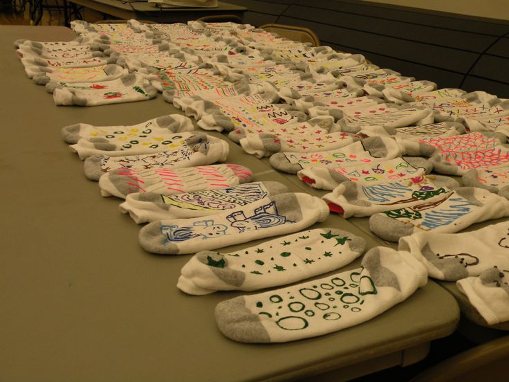 service project: Students made no-skid socks for local nursing home residents and Warrensburg seniors.