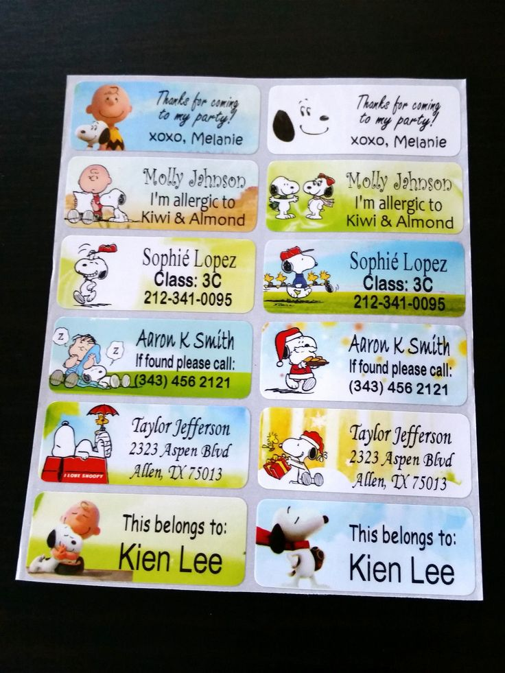 40 Snoopy Custom Name Label-School,Daycare,Nursery (Buy 5 Get 1 Free)