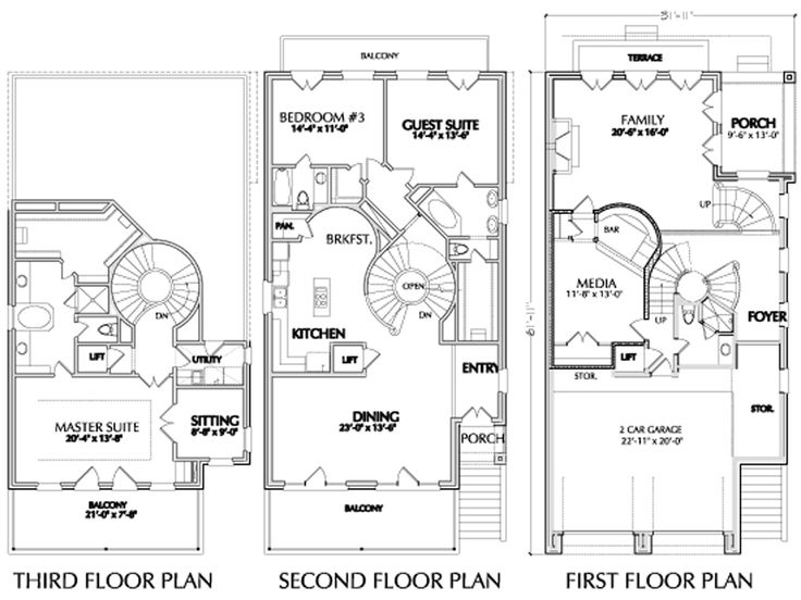 2014 three story townhouse sl dream home pinterest for 3 story house plans narrow lot