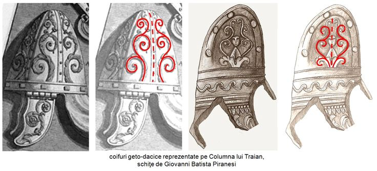 În desenele inspirate de Columna lui Traian, cunoscutul artist italian Giovanni Battista Piranesi, la sfârşitul secolului al XVIII-lea, a redat cu fidelitate detaliile de o fineţe încântătoare a simbolisticii magico-religioasă, prezentă pe echipamentul militar al luptătorilor geto-daci.