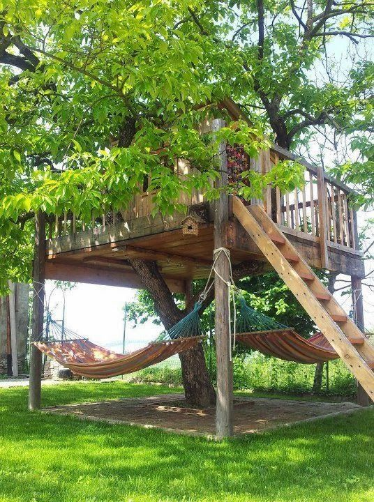 "Great backyard tree house-- and how fun is the shaded ""lower story?!"" 