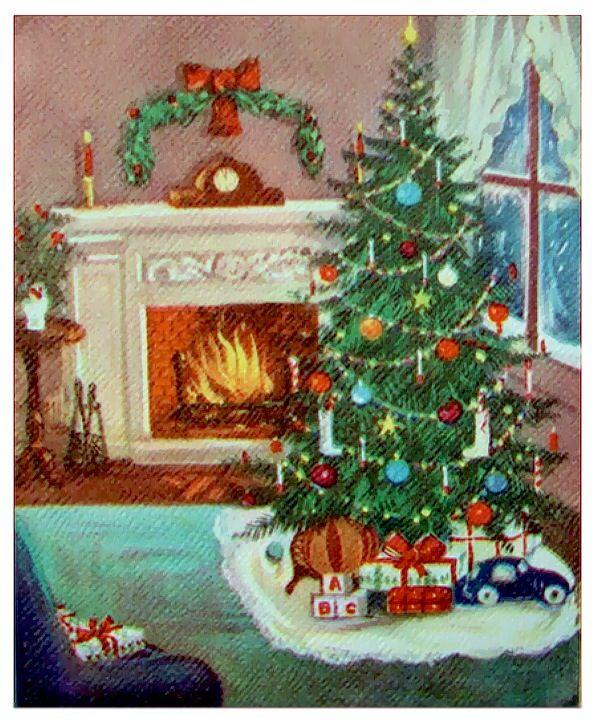 Bright Christmas fireside.