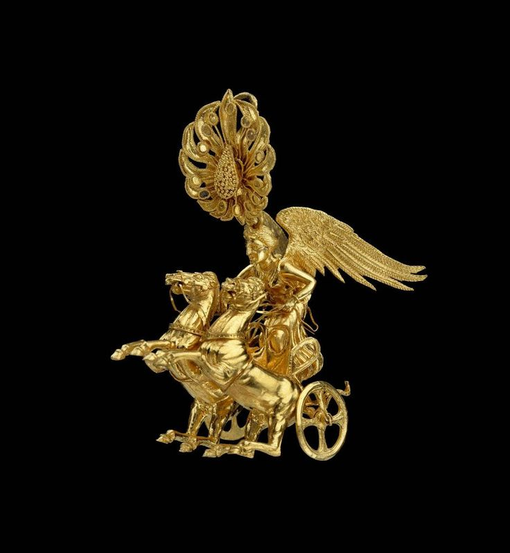 Golden Earring With Nike Riding A Chariot The Goddess Of
