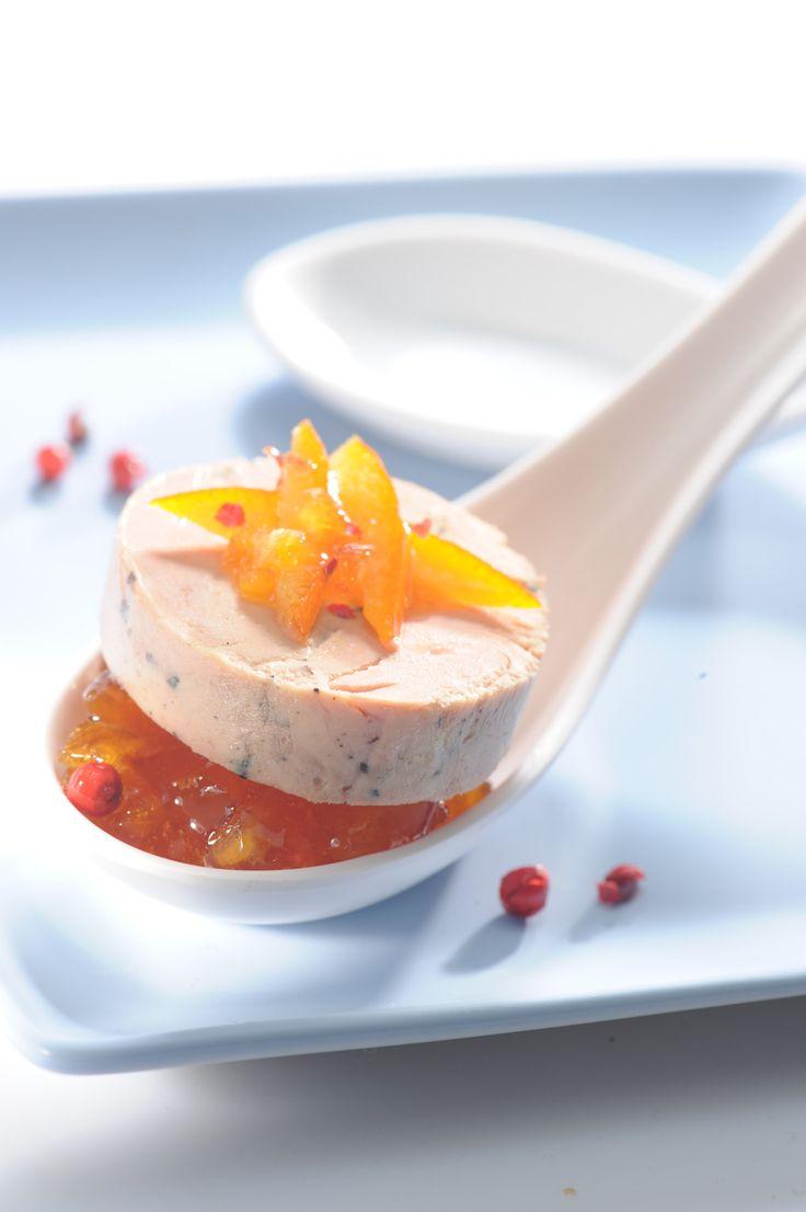 Cuillère de #foiegras et sa pulpe d'#orange pour un #apéritif haut en couleurs ! #Recette et conseils de nos #chefs sur www.feyel.com