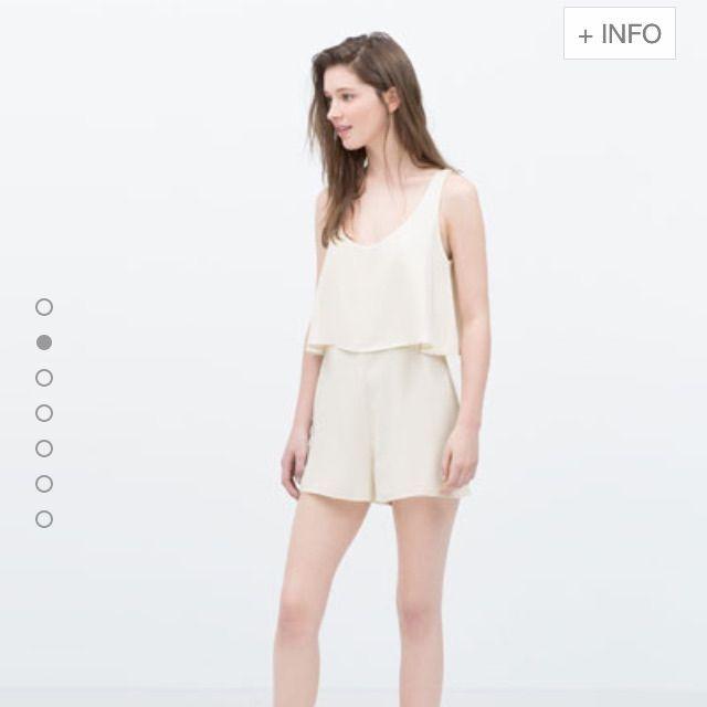 New Zara White Romper With Cape