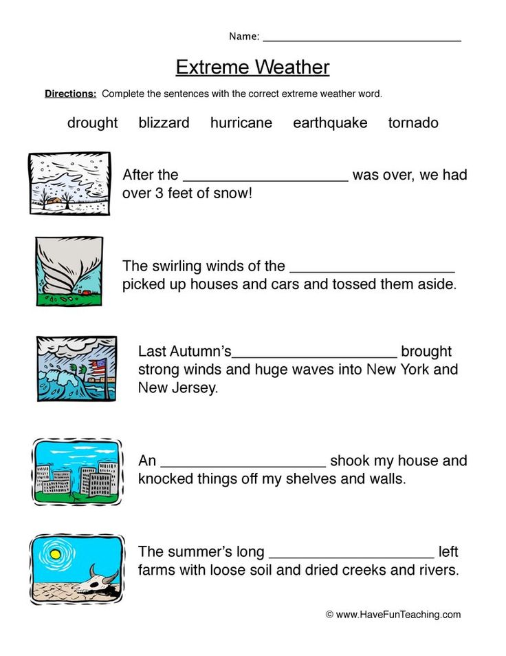 Natural Disasters Fill In The Blanks Worksheet Have Fun Teaching In 2021 Weather Worksheets Weather Words Natural Disasters