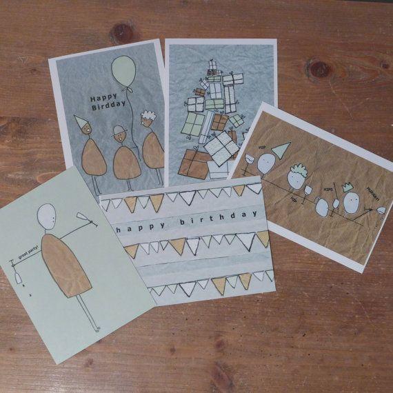 Een set van 10 kaarten voor een blije verjaardag door MyraaaB, €10.00