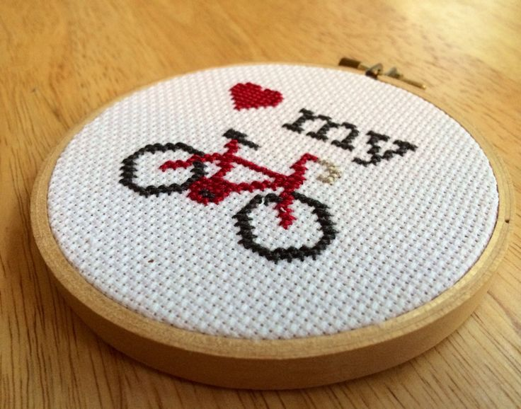 PATTERN Love My Bike Mini Tiny Cross Stitch Hoop Bicycle Instant Download by stephXstitch on Etsy https://www.etsy.com/uk/listing/200380756/pattern-love-my-bike-mini-tiny-cross