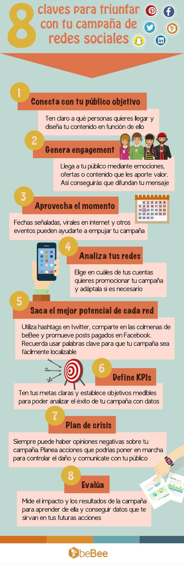 8 claves para triunfar con tu campaña de redes sociales #Infografía #RedesSociales #SocialMedia