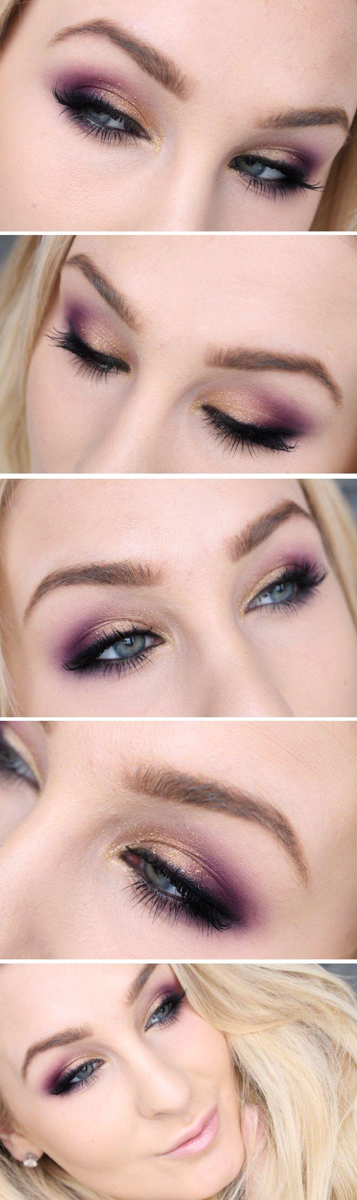 Dagens makeup – Guld, lila och glitter! + tutorial