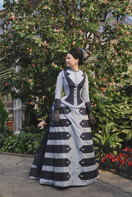 Janet Arnold's Patterns of Fashion Pattern WOW! This contrast tabbed Victorian dress is phenomenal! Steampunk costume diy / sewing pattern inspiration!