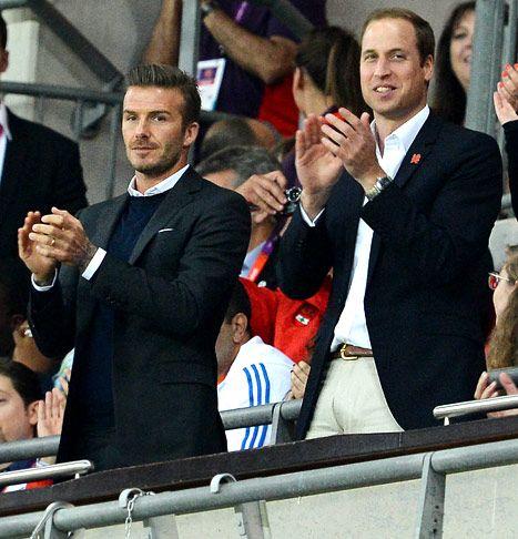 Prince William, David Beckham Bond at Olympics Soccer Game.     David Beckham and Prince William attend preliminary round football Great Britain vs UA Emirates at Wembley Stadium During the 2012 London Olympics on July 28, 2012.