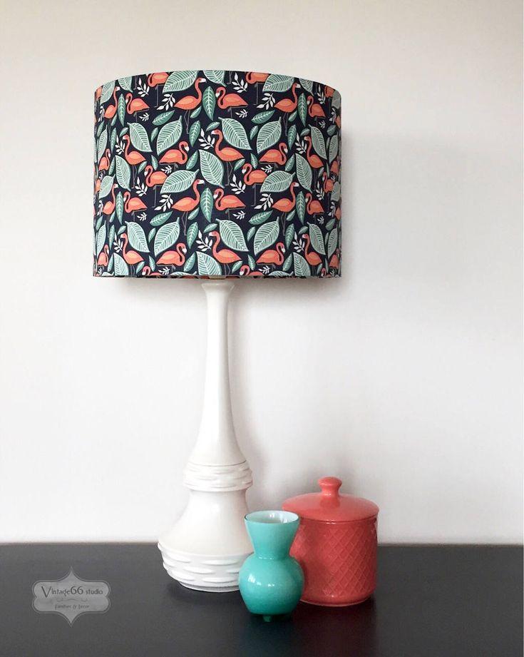 Vintage Mid Century Lamp with Flamingos Shade, ceramic, white, dark blue, teal, retro, table lamp, Diana by Vintage66studio on Etsy