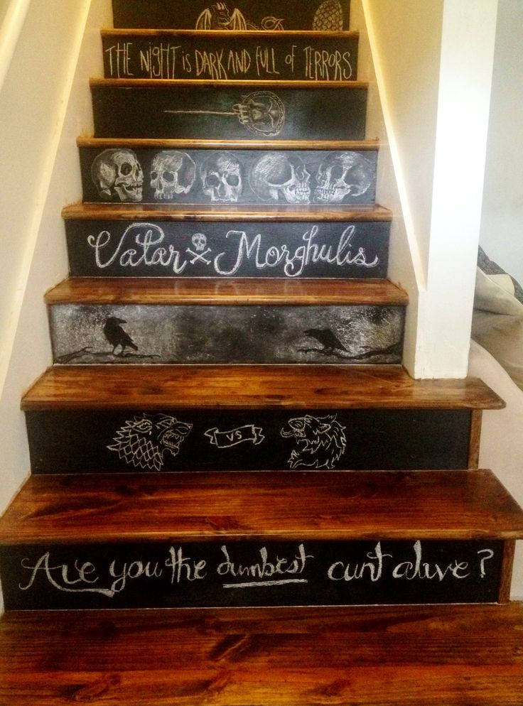 game of thrones themed chalkboard stairs gameofthrones. Black Bedroom Furniture Sets. Home Design Ideas