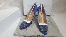 Nuevo Auténtico Manolo Blahnik Hangisi Azul Real 105 Mujeres Zapatos Zapatos De Salón Tacones Fmc
