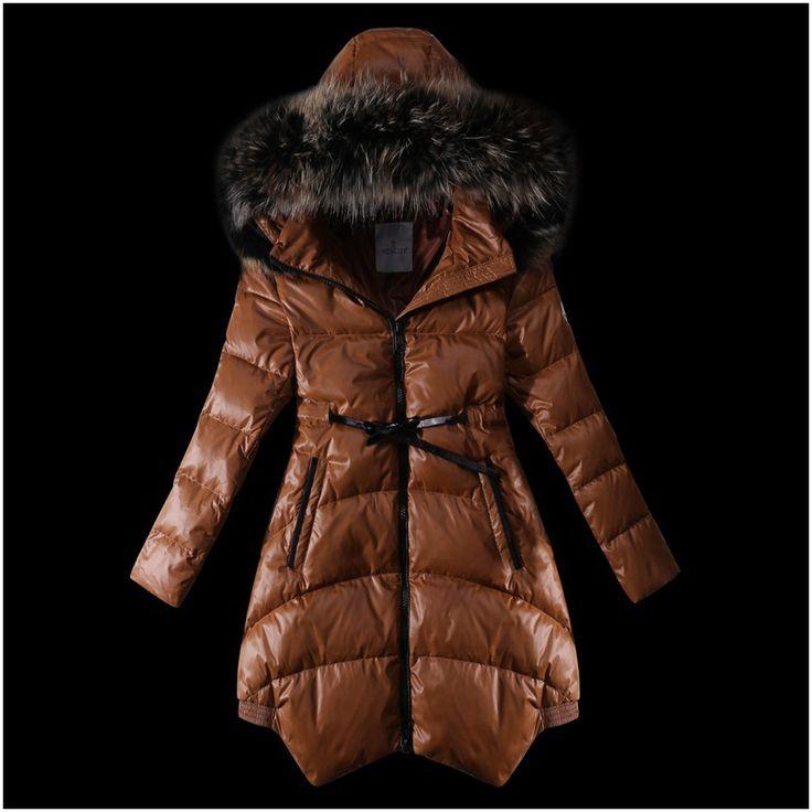 le prix du nouveau moncler manteau doudoune femme fourrure café a vendre