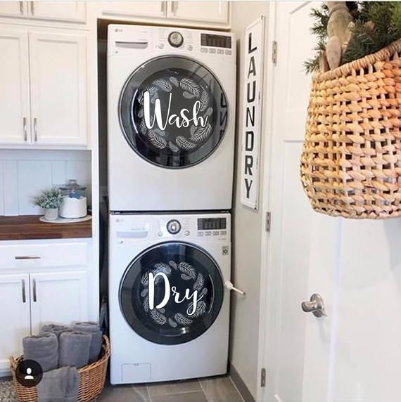 Laundry Room Decor Palm Fronds Wreaths Wash Dry Vinyl Decal