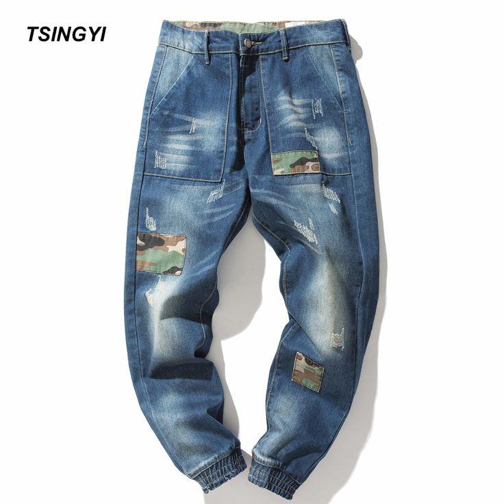 Tsingyi Men Patchwork Elastic Retro Harem Jeans Homme Blue Denim Joggers Full Length Streetwear Men Cotton Pants Plus Size 4XL #Affiliate